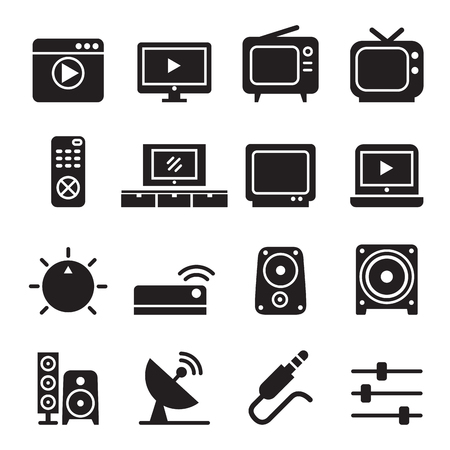 television icon: Television icon set Illustration