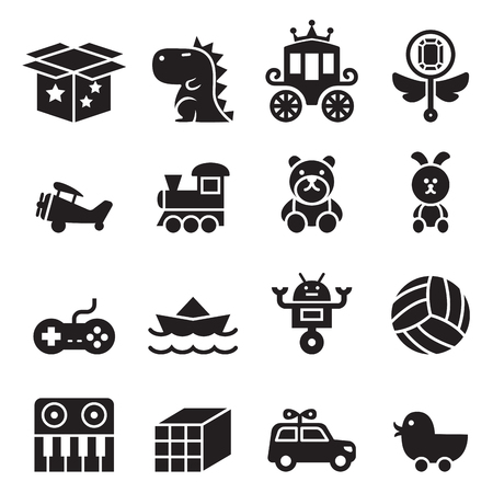 babies with toys: Toy icon set