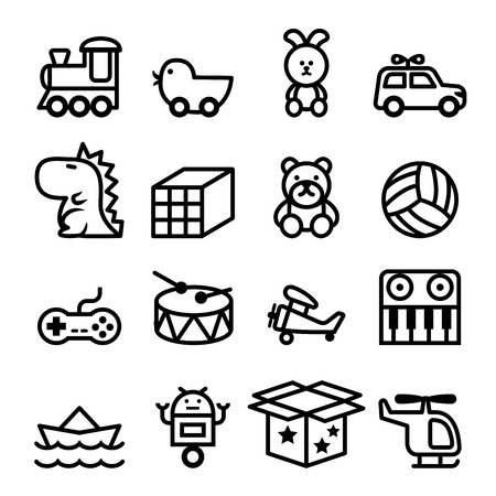 Outline Toy icon set Stock Illustratie