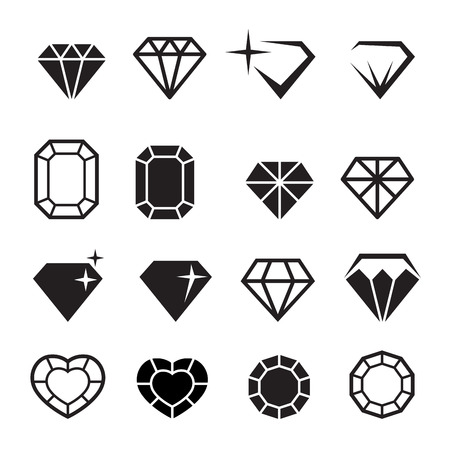 Diamond icons set vector Çizim