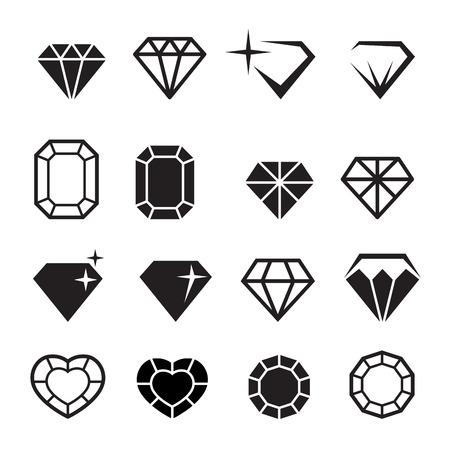 coeur en diamant: icônes de diamant serti vecteur
