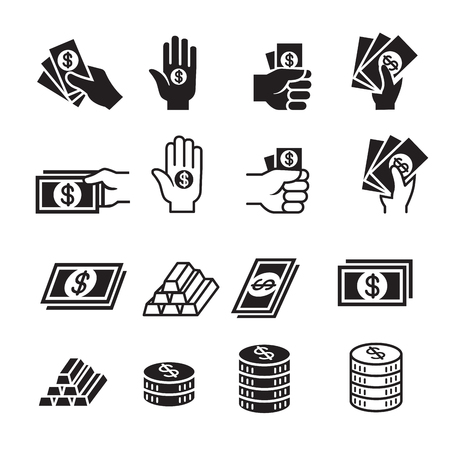 Hand and money icon set