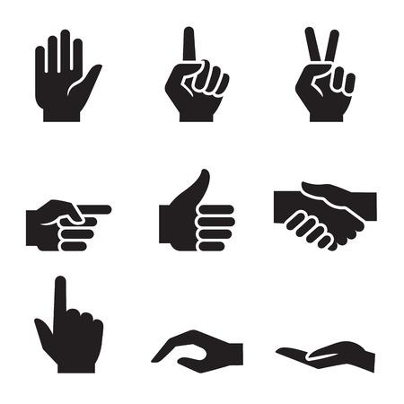 ok sign language: human hand symbol icon set
