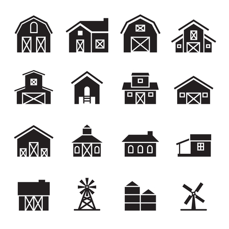 hangar: barn  farm building icon set
