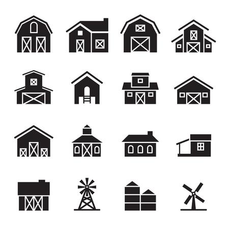 schuur boerderij icon set
