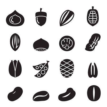 filberts: Nut icon set Illustration