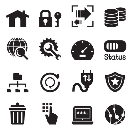 ftp: FTP , Server and Hosting icon set Vector illustration symbol