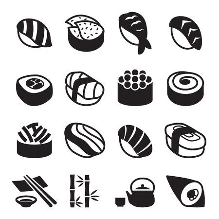 egg roll: Sushi icons Illustration