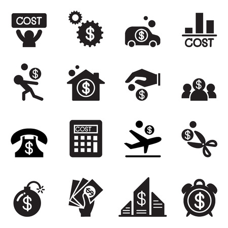 debt management: Business cost icon set