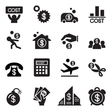 Business zestaw ikon kosztów Ilustracje wektorowe