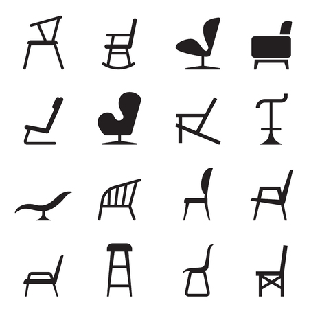 old office: Chair icons Illustration