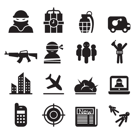 hijacking: terrorism , Assassin, killer icons set