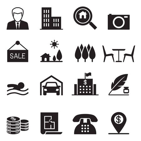 land owner: Real estate icons set