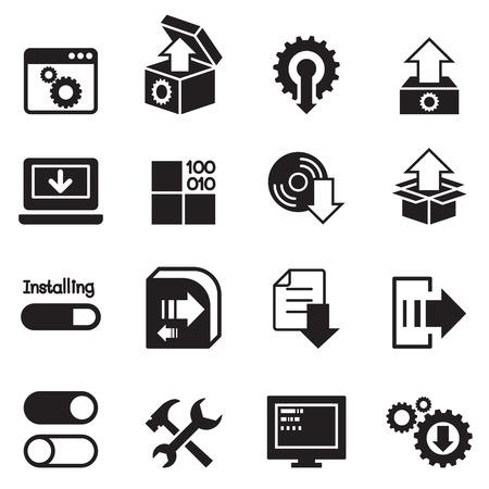 logo ordinateur: Configuration, configuration, icône d'entretien d'installation Illustration