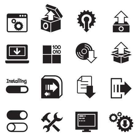 Setup , configuration, maintenance  Installation icon Illustration