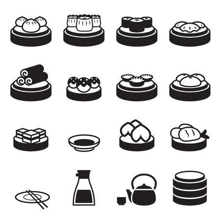 dim sum icônes alimentaires japonais Vecteurs