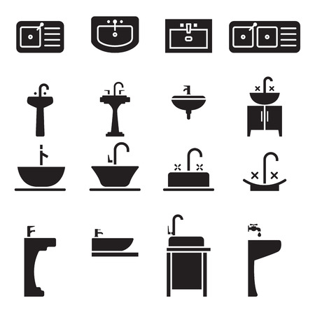 domestic kitchen: Sink icon set