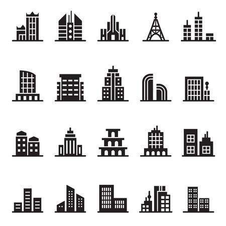building icon set  イラスト・ベクター素材