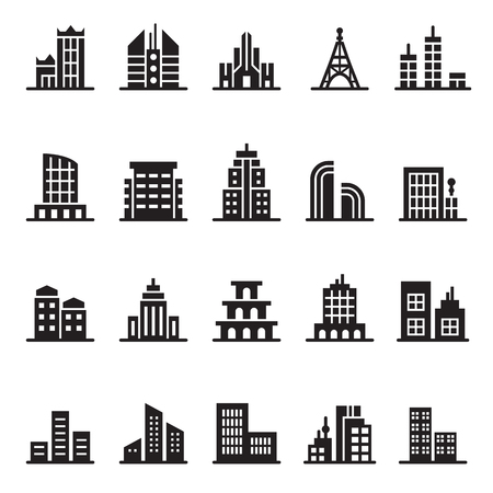 residential zone: building icon set Illustration