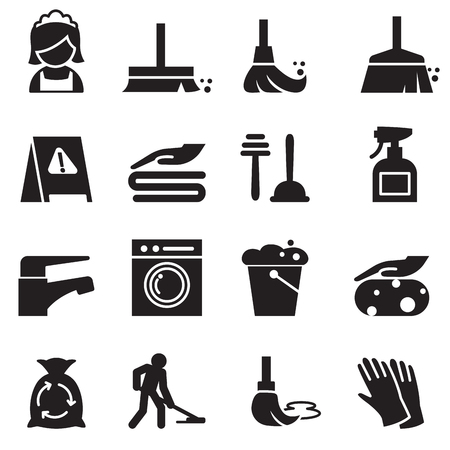 icônes de nettoyage définies Vecteurs
