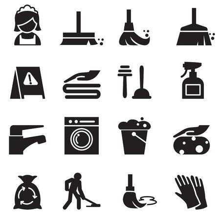 Schoonmaak icons set