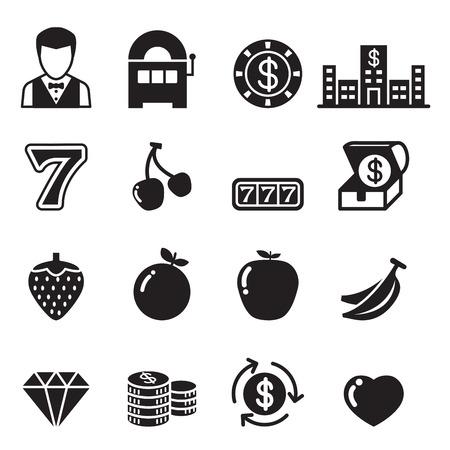 bet: Casino , Slot machine, Gambling icons set