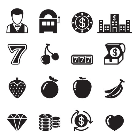 Casino , Slot machine, Gambling icons set