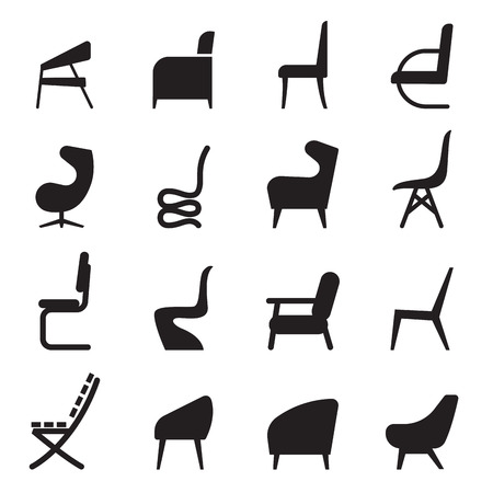 Chair icons set  side view