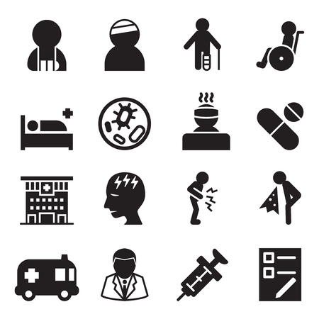 Sick  injury icons set vector illustration Çizim