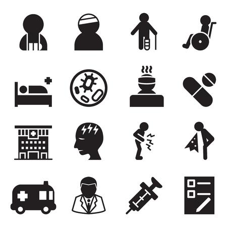 Zieke letsel pictogrammen instellen vector illustratie