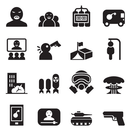 pictogram people: Terrorist, killer, Assassin  Icons set vector illustration
