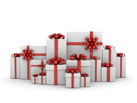 Christmas Presents on white background