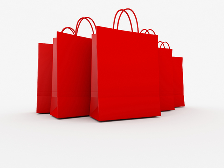 Red Shopping Bags on White Background