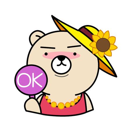 chuckle: Cartoon bear with ok sign illustration