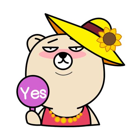 chuckle: Cartoon bear with Yes Sign