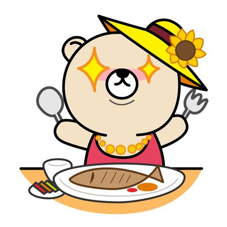 prepare: Cartoon bear prepare for eating Illustration