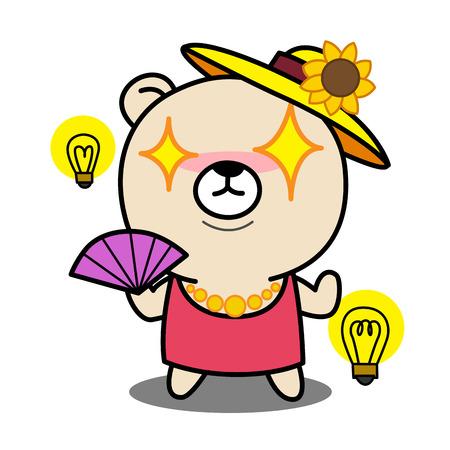 ready logos: Cartoon Bear get a bright idea illustration Illustration