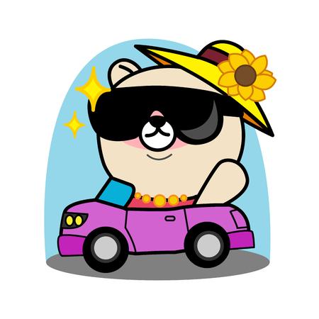 cunning: Cartoon bear ride  a car