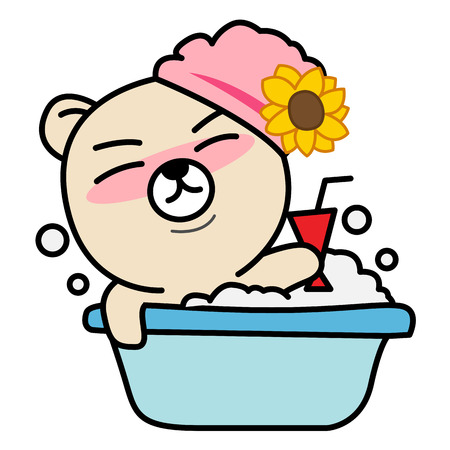 Cartoon bear take a bath