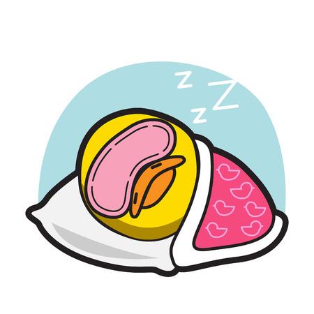 bird illustration: DUCK SLEEP CARTOON  VECTOR Set 93