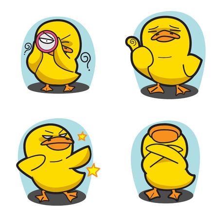 Duck Cartoon Vector Set 4 Illustration