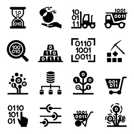 Data mining Technology , Data Transfer , Data warehouse analysis icon set