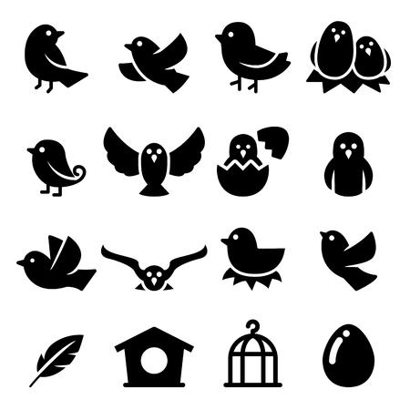 Silhouet van de vogel icoon Vector Illustratie