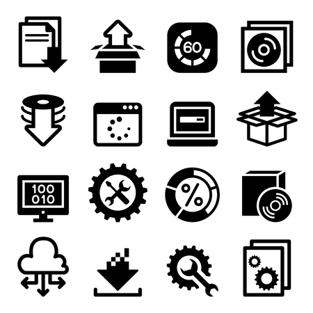 Setup , configuration, maintenance & Installation iconSoftware & Application Vektoros illusztráció