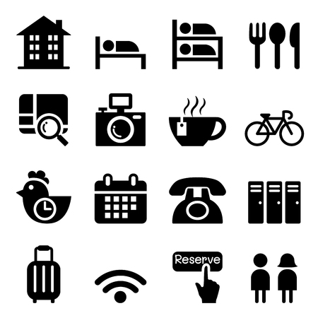 Hostel & Hôtel icon set