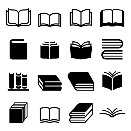 magazine stack: Book icons set
