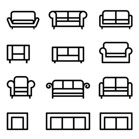 Divano set di icone