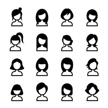 hair style: Woman hair style icon set