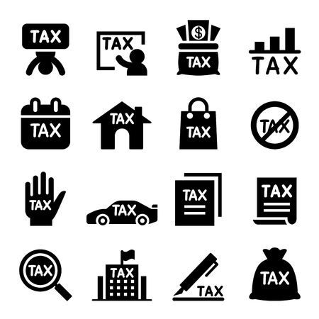 reducing: Tax icon set Illustration