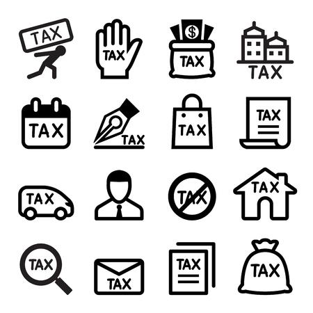 finance department: Tax icon set Illustration